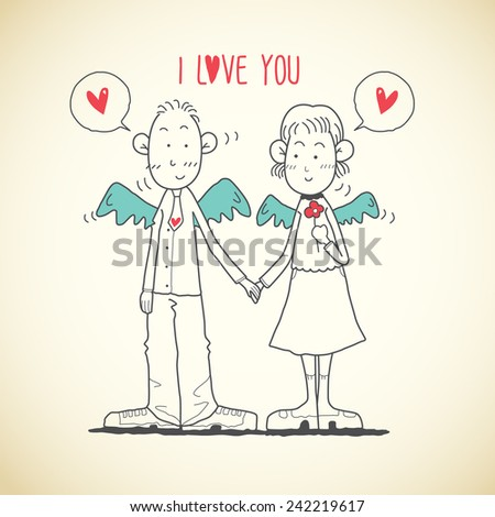 Cute Outline Couple With Heart - stock vector
