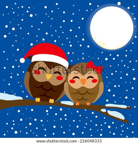 Cute owl couple in love perched together on a tree branch in Christmas snow night with full moon background - stock vector