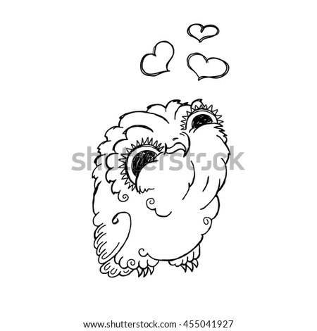 Cute Owl Doodle Illustration. Grunge Kawaii Picture. Vector Lovely Owlet. - stock vector