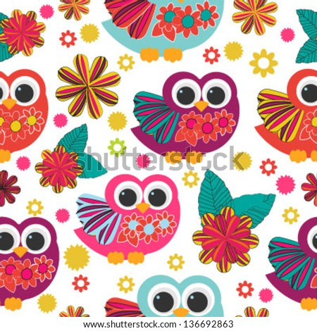 cute owl floral seamless - stock vector