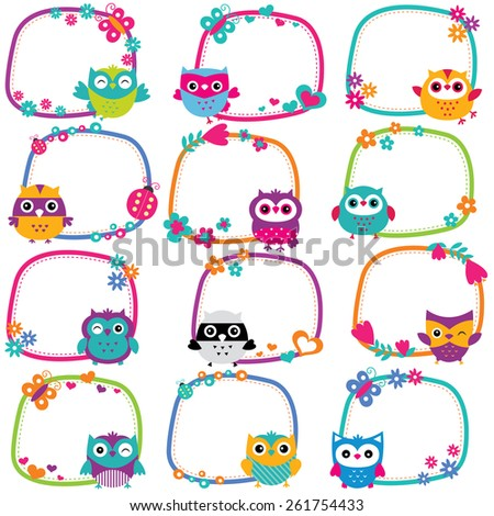 cute owl frames clip art set - stock vector