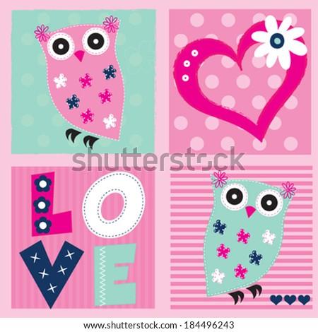 cute owl invitation card vector illustration - stock vector