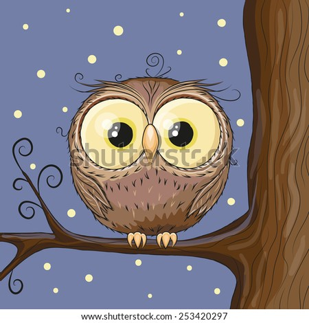 Cute Owl on a brunch on a stars background  - stock vector