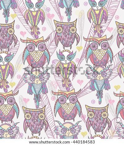 Cute owl seamless pattern - stock vector
