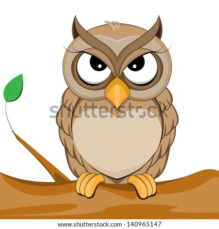 cute owl vector of illustration - stock vector