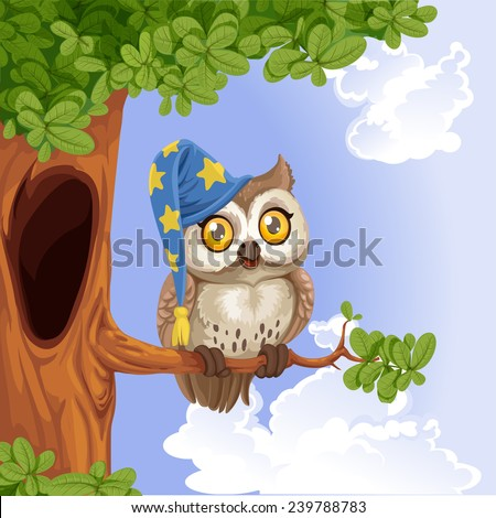Cute owl wearing a hat sitting on a tree branch - stock vector