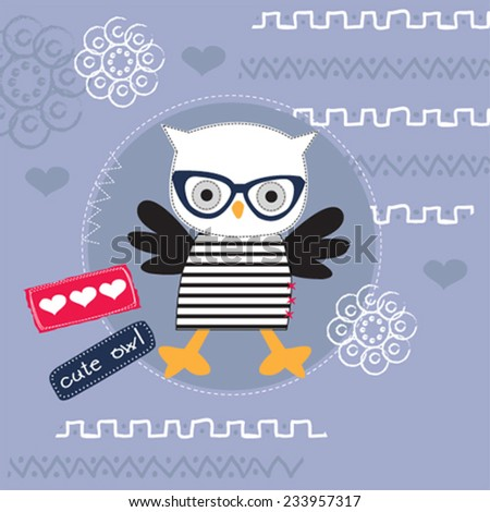 cute owl with glasses indian backgrounds vector illustration - stock vector