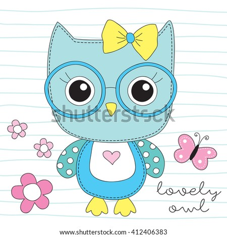cute owl with glasses vector illustration - stock vector