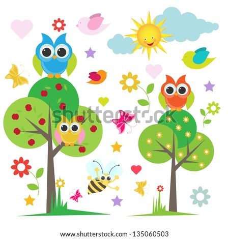 cute owl with trees and and birds - stock vector