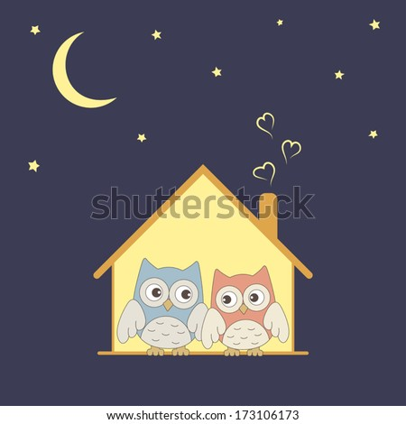 Cute owls couple in their cozy nest under stars - stock vector