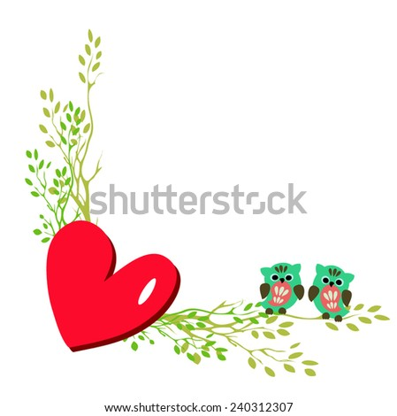 cute owls couple sitting on a branch, valentine card design - stock vector