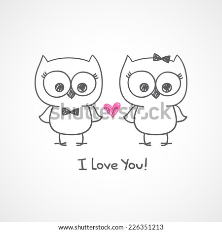 cute owls couple, vector hand drawn illustration with text, i love you - stock vector
