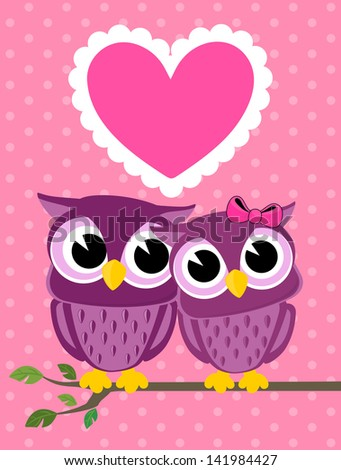 cute owls couple with love heart, in vector format very easy to edit, individual objects - stock vector