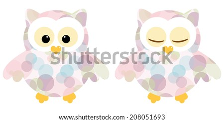 Cute owls. Illustration of pair of owls with colorful circle pattern. Sleeping and not sleeping owls. Vector image  - stock vector