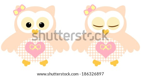 Cute owls. Illustration of pair of peachy owls. Sleeping and not sleeping owls. Vector image - stock vector