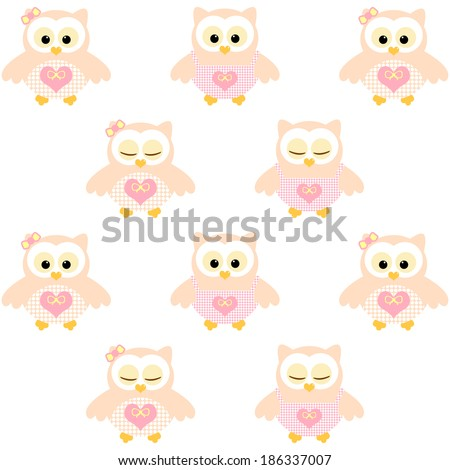 Cute owls. Illustration with pink and peach owls. Chaotic order. Sleeping and not sleeping owls. Vector image - stock vector