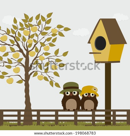 Cute owls on a fence with birdhouse and apple tree - stock vector