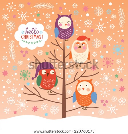 Cute owls on the tree, Christmas background, Merry Christmas greeting card - stock vector