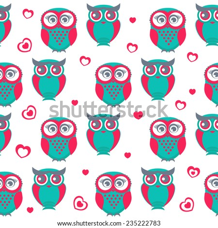 Cute owls seamless pattern. Vector Illustration. Can be used for web, paper, wrap, wallpaper, textile and other design. Valentine`s background. - stock vector