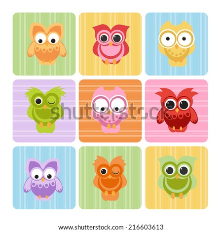 cute owls set - stock vector