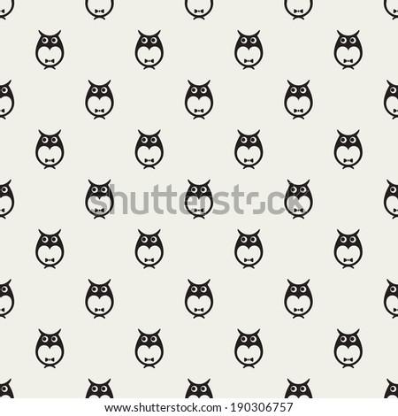 Cute owls vector seamless pattern - stock vector
