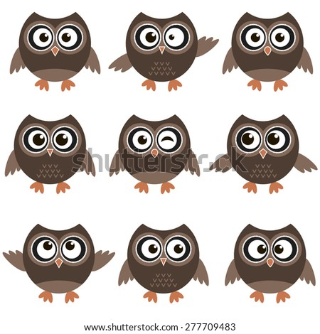 Cute owls with various emotions - stock vector