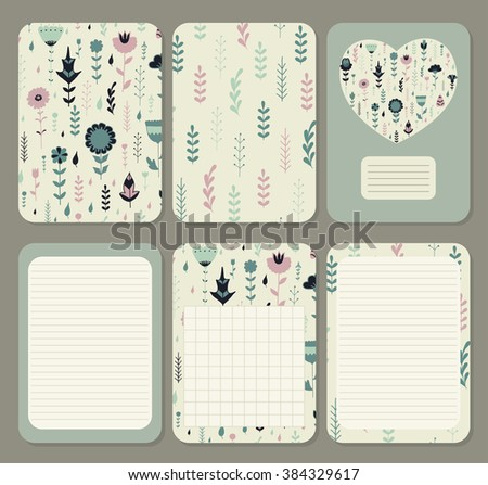 Cute pages for notes with cute delicate flowers and herbs painted by hand.. Notebooks,decals, diary, cards, school accessories. Cute design with floral seamless patterns. Seamless patterns under mask. - stock vector