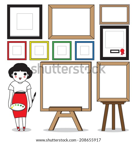Cute Painter with Her Classic Frames - stock vector