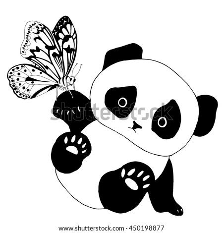 Cute panda bear with butterfly - stock vector
