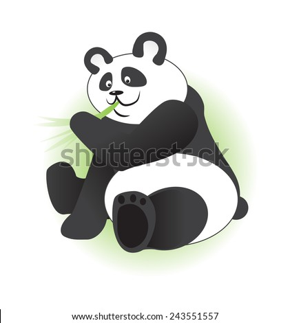 Cute panda eating bamboo branch - stock vector