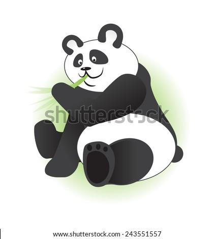 Cute panda eating bamboo branch - stock vector