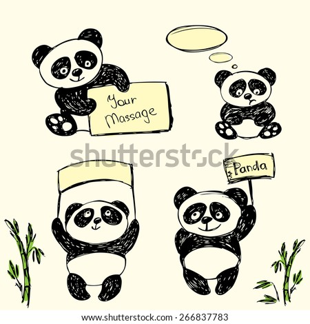 Cute Panda in various poses with signs for text, hand drawing, vector - stock vector