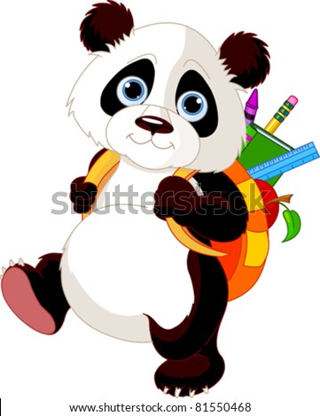 Cute panda  on his way to school - stock vector