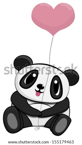Cute panda with balloon - stock vector