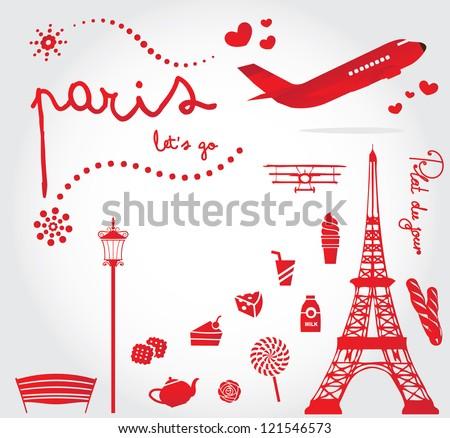 cute paris travel set - stock vector