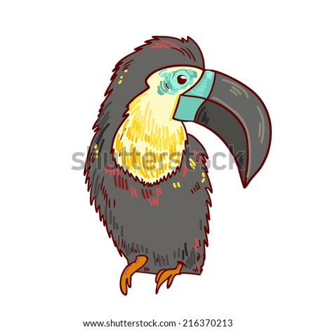 Cute parrot bird. Isolated Vector Illustration - stock vector