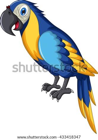 cute parrot cartoon - stock vector