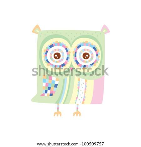 cute patchwork owl - stock vector