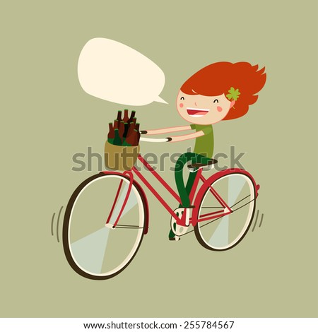 cute patrick's day girl on bicycle. cartoon girl cycling. vector illustration - stock vector