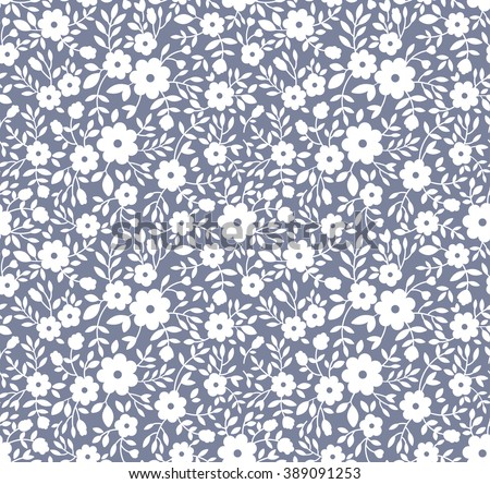 Cute pattern in small flower. Small white flowers. Gray background. Floral seamless pattern. Small cute simple spring flowers.  - stock vector