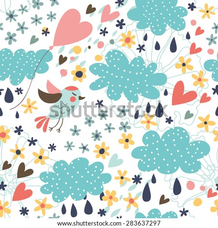 Cute pattern with clouds, birds, flowers and hearts. Seamless background for your design. - stock vector