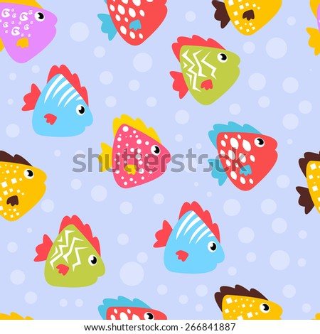 Cute pattern with different funny fish. Beautiful background - stock vector