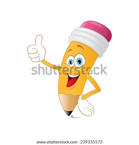 Cute pencil cartoon with book on a white background - stock vector