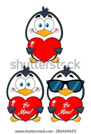 Cute Penguin Cartoon Character Holding A Valentine Heart. Vector Collection Set - stock vector