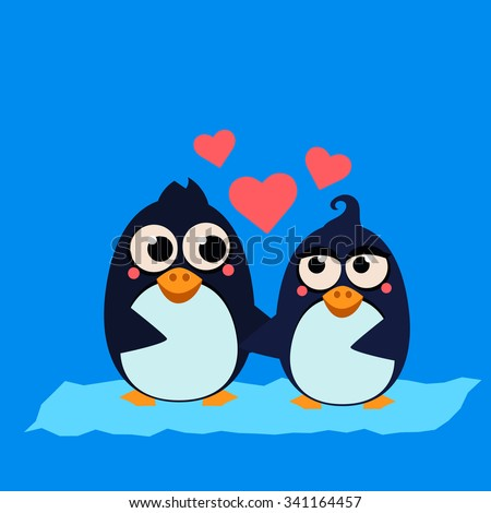 Cute Penguin Couple in Love with Hearts. Vector Illustration - stock vector