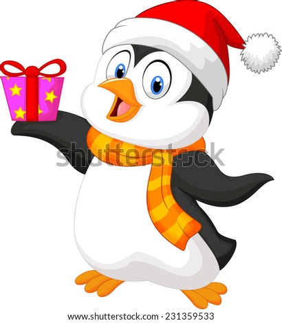 Cute penguin holding present - stock vector