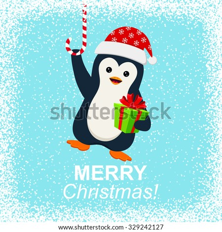 Cute penguin with gift box and Merry Christmas - stock vector