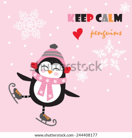 cute penguin with ice skate vector illustration - stock vector