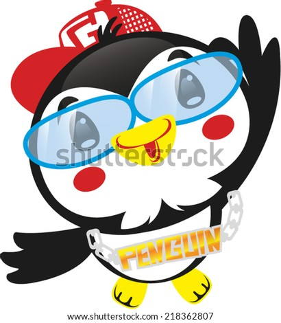 Cute penguin with rapper costume vector. - stock vector
