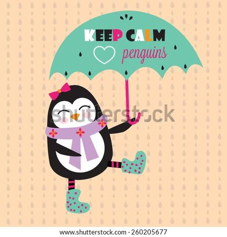 cute penguin with umbrella vector illustration - stock vector